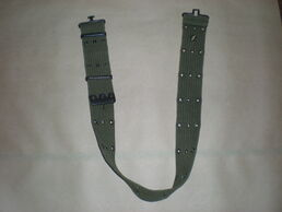 U.S. Army pistol belt with metal eyelets.
